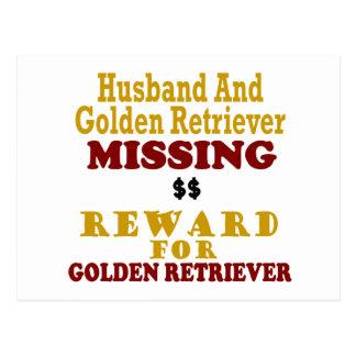 Golden retriever y recompensa que falta del marido tarjetas postales