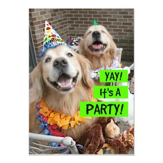 Golden Retriever Yay It's A Party Invitation