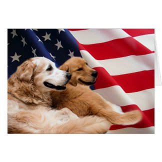 Golden Retrievers American Flag Card