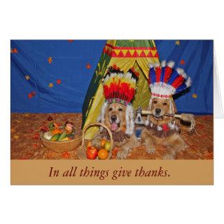 Golden Retrievers as the First Thanksgiving Card