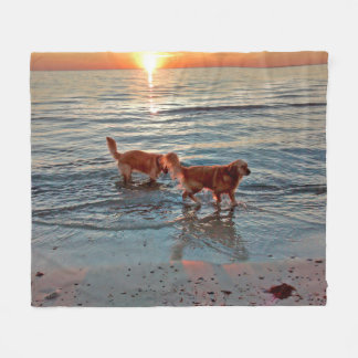 Golden Retrievers at Sunset fleece throw