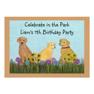 Golden Retrievers Birthday Party Invitations