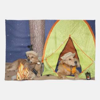 Golden Retrievers Camping Hand Towel