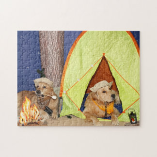 Golden Retrievers Camping Jigsaw Puzzle