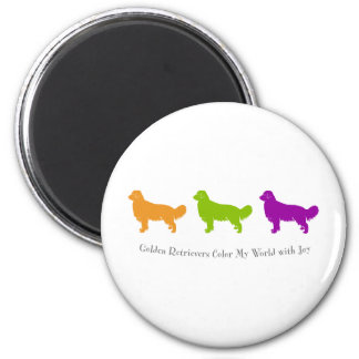 Golden Retrievers Color My World With Joy 2 Inch Round Magnet