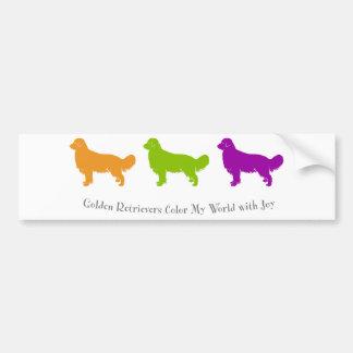 Golden Retrievers Color My World With Joy Bumper Sticker