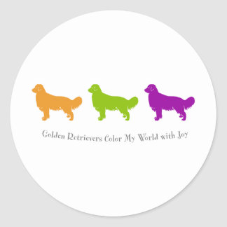 Golden Retrievers Color My World With Joy Classic Round Sticker