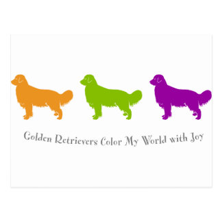Golden Retrievers Color My World With Joy Postcard