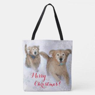 Golden Retrievers Dashing Thru the Snow Christmas Tote Bag