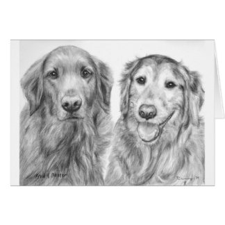 Golden Retrievers Fred and Baxter Card