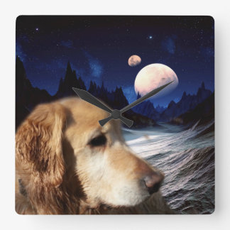 Golden Retrievers From Space! Square Wall Clocks