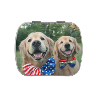 Golden Retrievers in Bow Ties Independence Day Candy Tins