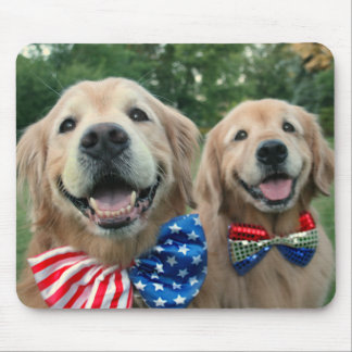 Golden Retrievers in Bow Ties Independence Day Mouse Pad