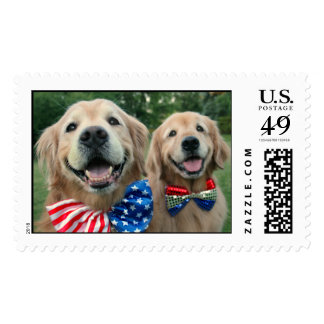 Golden Retrievers in Bow Ties Independence Day Postage Stamp