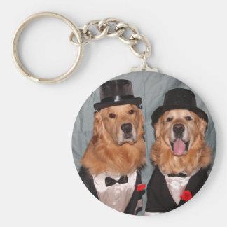Golden Retrievers in Tuxedos Basic Round Button Keychain