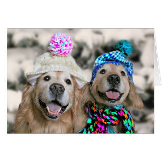 Golden Retrievers in Winter Hats Holiday Christmas Greeting Card