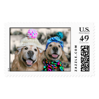 Golden Retrievers in Winter Hats Holiday Christmas Postage Stamps