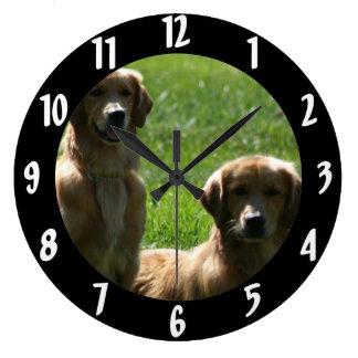 Golden Retrievers Large Clock