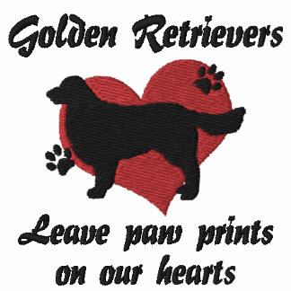 Golden Retrievers Leave Paw Prints Embroidered Hoodies
