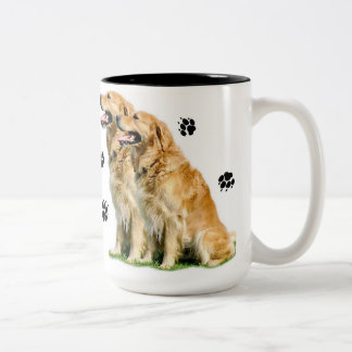 Golden (Retrievers) Leave Pawprints on Your Heart Two-Tone Coffee Mug