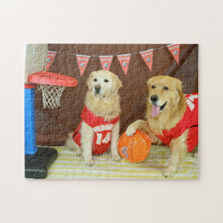 Golden Retrievers Playing Basketball Jigsaw Puzzle