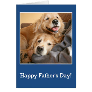 Golden Retrievers Snuggling With Dad Father's Day Card