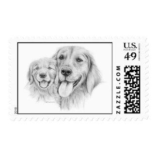 Golden Retrievers Stamp