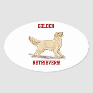 Golden Retrievers Oval Stickers
