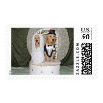 Golden Retrievers Wedding Cake Postage