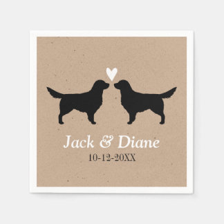 Golden Retrievers Wedding Couple with Custom Text Napkin