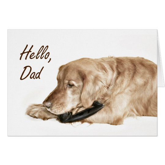 Golden Retriver calls Dad Father's Day card