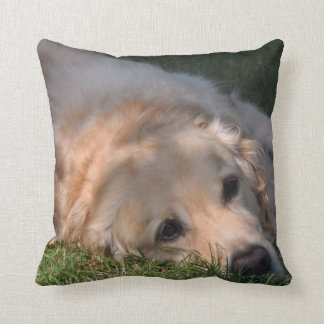 Golden Retriver Resting in the Grass Photo Throw Pillow