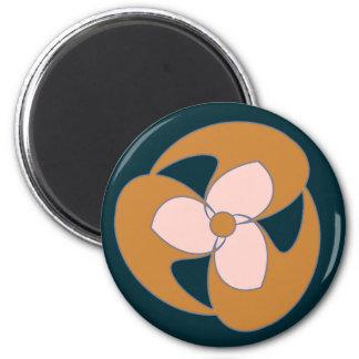 Golden Retro Crescent Spiral Flower Refrigerator Magnet