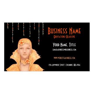 Golden Retro Woman w/Drops Business Cards