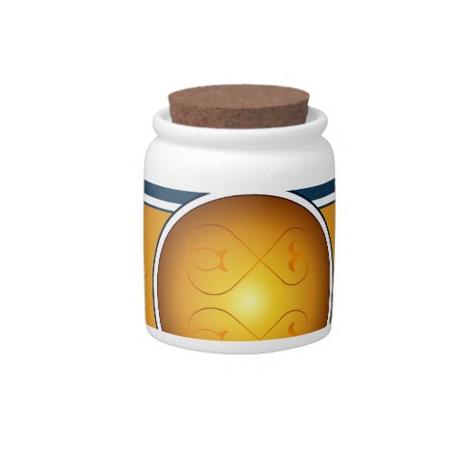 Golden ribbon and blue little background candy jar