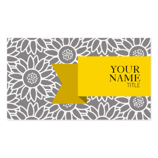 Golden Ribbon and Sunflower Pattern Business Card