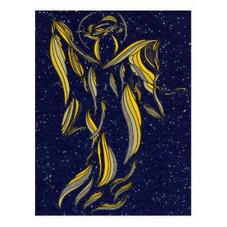Golden Ribbon Angel Abstract Navy Blue Starfield Postcard
