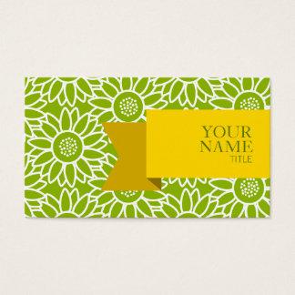 Golden Ribbon Apple Green Sunflower Business Card