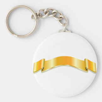 Golden Ribbon Basic Round Button Keychain