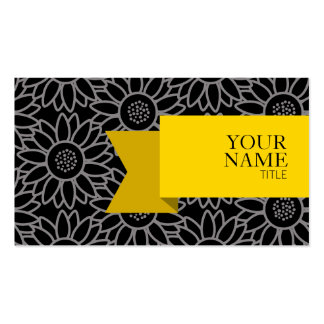 Golden Ribbon Black and Titanium Sunflower Business Card