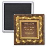 Golden Ribbon & Stars Framed Mans Magnet