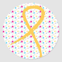 Golden Ribbon Stars Round Sticker