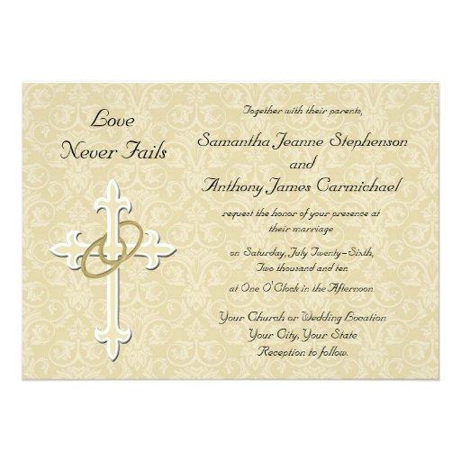 Wedding Invitation Wording Religious : Golden Rings Christian Wedding Invitations 5