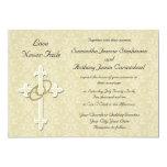 "Golden Rings Christian Wedding Invitations 5"" X 7"" Invitation Card"