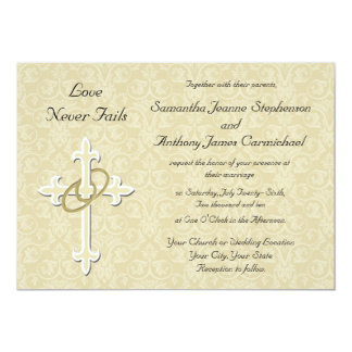 Nice Golden Rings Christian Wedding Invitations