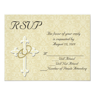 Golden Rings Christian Wedding RSVP Card
