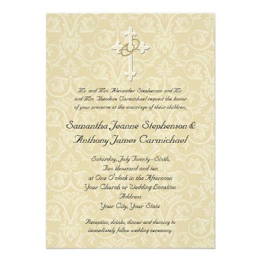 Golden Rings Cross Christian Wedding Invitations