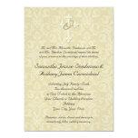 "Golden Rings Cross, Christian Wedding Invitations 5"" X 7"" Invitation Card"
