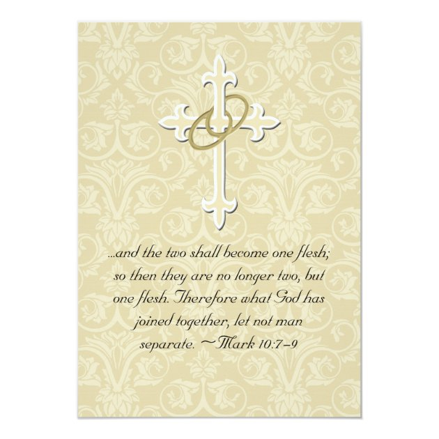 Golden Rings Cross, Christian Wedding Invitations | Zazzle