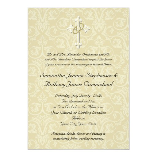 Golden rings cross christian wedding invitations zazzle for Pictures of wedding rings for invitations